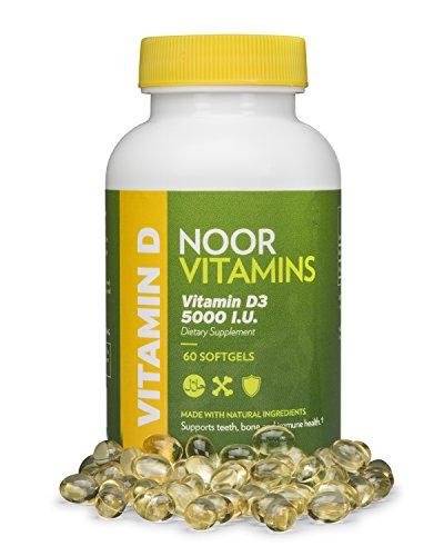 NoorVitamins Vitamin D3 5000 IU - 60 Softgels - Halal Vitamins (1)