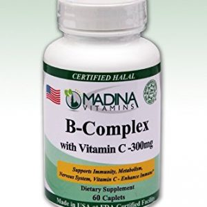 Madina Vitamins - Halal B Complex with Vitamin C 300mg (60 Caplets) by Madina Vitamins