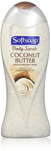 Softsoap Body Butter Coconut Scrub, Body Buff Wash 15 oz (Pack of 1)