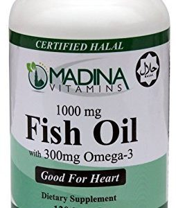 Madina Vitamins - Halal Fish Oil Omega-3 300mg (120 Softgels with Halal Beef Gelatin - Daily Supplement) by Madina Vitamins