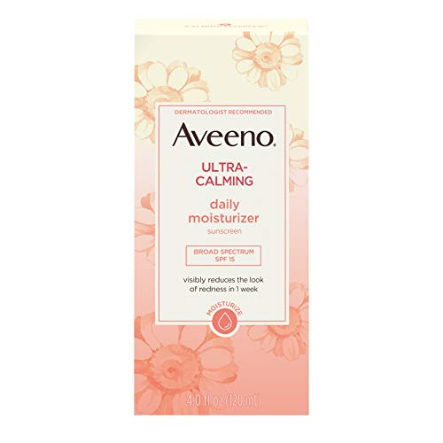 Aveeno Ultra-Calming Fragrance-Free Daily Facial Moisturizer for Sensitive, Dry Skin with SPF 15 Mineral Sunscreen, Calming Feverfew & Nourishing Oat, 4 fl. oz