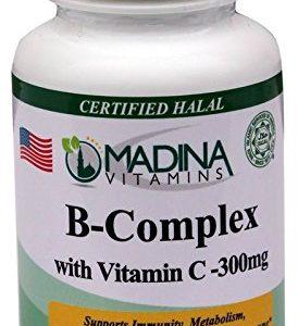 Madina Vitamins B-Complex with Vitamin C (300mg) Anti-Stress Vitamins (60 Caplets Daily Supplements) Made in USA - Halal Vitamins