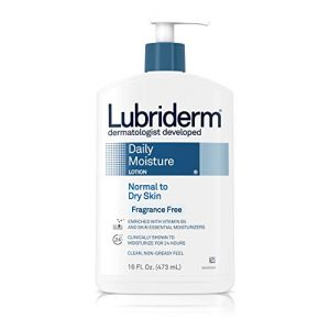 Lubriderm Daily Moisture Hydrating Unscented Body Lotion with Vitamin B5 for Normal to Dry Skin, Non-Greasy and Fragrance-Free Lotion. 16 fl. oz