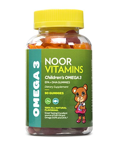 NoorVitamins Children's Omega 3 Gummy Vitamin - Packed Full of EPA+DHA to Help Young Brains Develop - 90 Count Gummies - Halal Certified Vitamins For Kids (1)