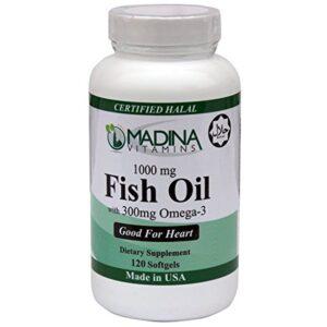Madina Vitamins Fish Oil (1000 mg) Omega 3 (300 mg) Beef Gelatin with EPA / DHA (120 Softgels Daily Supplement) Made in USA - Halal Vitamins