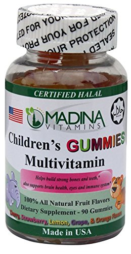 Madina Vitamins Children's Gummies Multivitamins Complete Multi-Vitamins for Kids (90 Fun Animal Shaped Gummies Supplements) Made in USA - Halal Vitamins