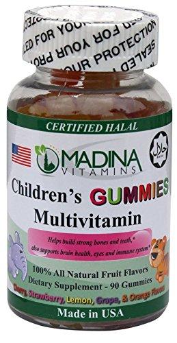 Madina Vitamins CHILDREN's GUMMY MULTIVITAMINS (90 Fun Animal Shaped Gummies Supplements Complete Multi-Vitamins) Made in USA - Halal Vitamins