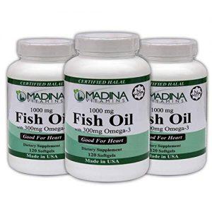 Madina Vitamins Fish Oil (1000 mg) Omega 3 (300 mg) Beef Gelatin with EPA/DHA (3 Pack) Made in USA - Halal Vitamins