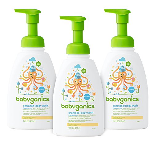 Babyganics Baby Shampoo and Body Wash, Fragrance Free, 3 Pack