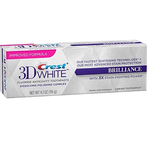 Crest 3D White Brilliance Vibrant Peppermint Toothpaste, 4.1oz (1 Tube)