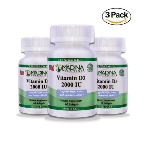 Madina Vitamins Vitamin D3 2000IU Softgels (3PACK), Joint, Bones and Immune System Support (Daily Supplement) Made in USA - Halal Vitamins