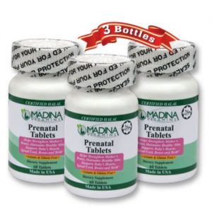 Madina Vitamins Prenatal Vitamins, Rich in Iron, Folic Acid and Zinc (3 Pack) Halal Vitamins - Made in USA