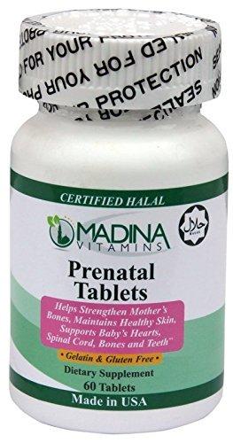 Madina Vitamins Prenatal Vitamins with Vitamin D and Calcium (60 Tablets Daily Supplements) Made in USA - Halal Vitamins