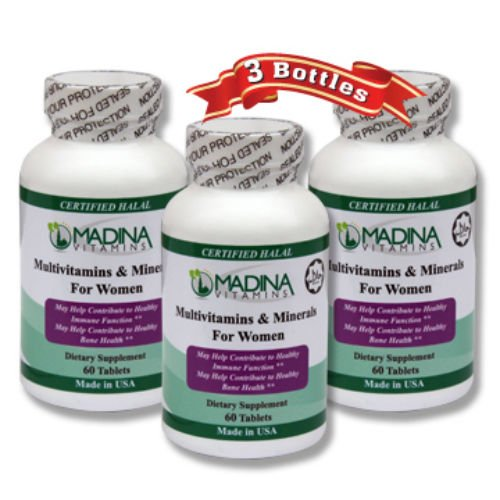 Madina Vitamins Women's Multivitamins and Minerals with BIOTIN (3 Pack Supplements) Made in USA - Halal Vitamins