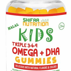 SHIFAA NUTRITION Halal, Vegan & Vegetarian Gummy Omega 3-6-9 + DHA for KIDS | Supports Brain, Body and Immune Functions | Non-GMO & Free of Preservatives, Gluten, Nuts, Dairy & Soy - 60 Gummies