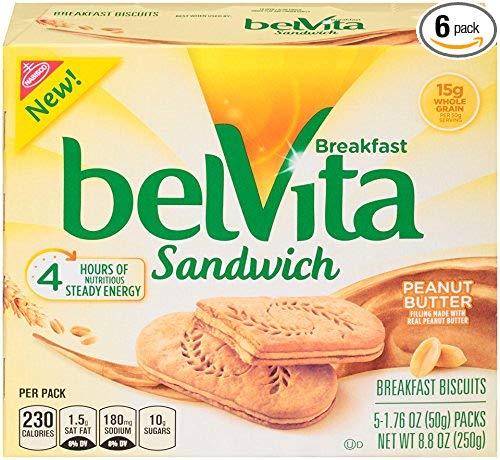 belVita Peanut Butter Sandwich Breakfast Biscuits, 5Count Box, 8.8 oz (Pack of 6)