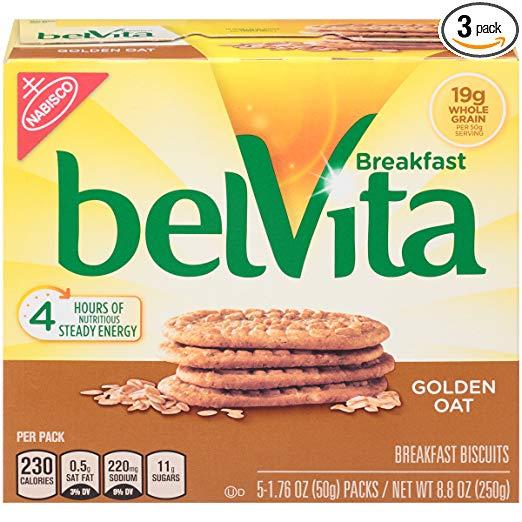 belVita Breakfast Biscuits, Golden Oat, 8.8 Ounce (Pack of 3)
