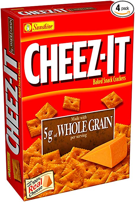 Cheez-It Baked Snack Crackers, Whole Grain, 13.7-Ounce Packages (Pack of 4)