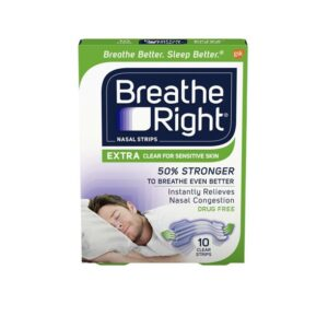 Breathe Right Extra Clear Nasal Strips Drug Free Sensitive (44 Extra Clear Strips (Sensitive Skin))
