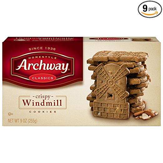Archway Cookies, Crispy Windmill Cookies, 9 Ounce (Pack of 9)