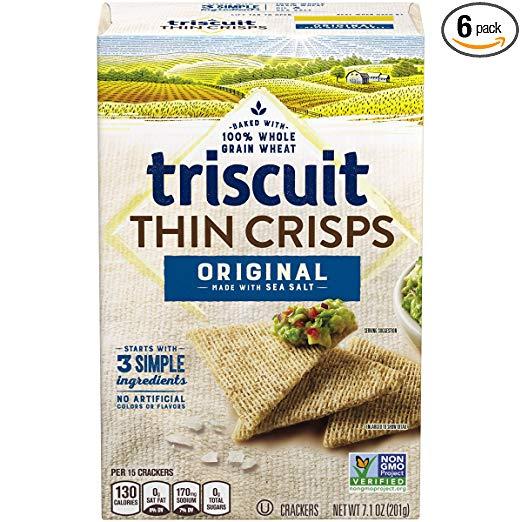 Triscuit Thin Crisps Original Crackers, Non-GMO, 7.1 oz (Pack of 6)