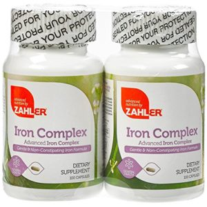 Zahlers Iron Complex, Complete Blood Building Iron Supplement, Iron Pills with Vitamin C, Kosher Certified, 100 Capsules Each (Pack of 2)