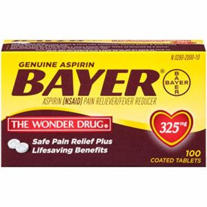 Genuine Bayer Aspirin 325mg Coated Tablets | #1 Doctor Recommended Aspirin Brand | Pain Reliever | 100 Count