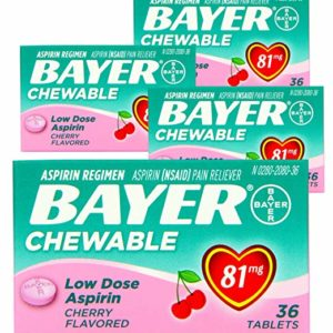 4 Pack) Bayer Chewable Low Dose Aspirin Cherry- Value Pack, 36-Count Chewable Tablets