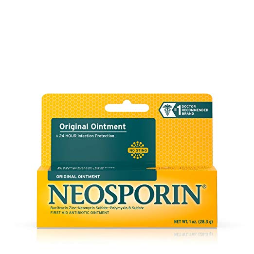 Neosporin Original First Aid Antibiotic Ointment with Bacitracin, Zinc For 24-hour Infection Protection, Wound Care Treatment and the Scar appearance minimizer for Minor Cuts, Scrapes and Burns, 1 oz