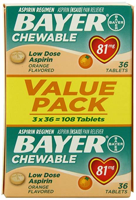 Bayer Chewable Aspirin Low Dose 81mg Orange Flavor - Value Pack