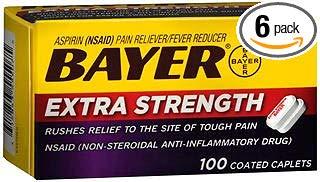 Bayer Extra Strength Aspirin Caplets - 100 Coated Caplets, Pack of 6