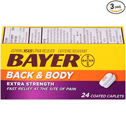 Bayer Extra Strength Bayer Back and Body Pain Caplets 500mg, 24 Count (Pack of 3)