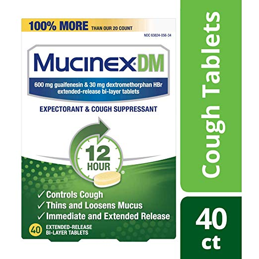 Cough Suppressant and Expectorant, Mucinex DM 12 Hr Relief Tablets, 40ct, 600 mg, Thins & loosens mucus that causes chest congestion, #1 Doctor recommended OTC expectorant