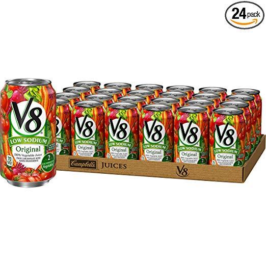 V8 Original Low Sodium 100% Vegetable Juice, 11.5 oz. Can (Pack of 24)