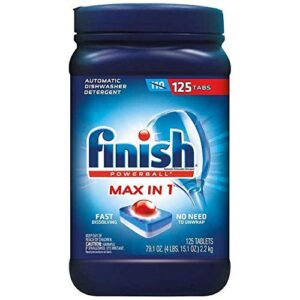 Finish Max in 1 Plus Dishwasher Detergent 125-Count Easy to use Wrapper Free Powerball Tabs in Convenient Mess Free (1 Pack (125 Tabs))
