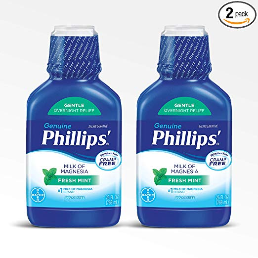 Phillips' Milk of Magnesia Laxative (Fresh Mint, 26-Fluid-Ounce Bottle) (Pack of 2)