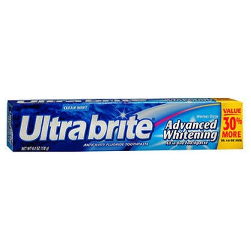 Colgate Ultra Brite Advanced Whitening Anticavity Fluoride Toothpaste, Clean Mint Flavor, 6 oz. (Pack of 3)