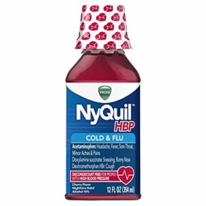 Vicks NyQuil, High Blood Pressure Cold & Flu Medicine, Relieves Headache, Fever, Sore Throat, Minor Aches & Pains, 12 Fl Oz, Cherry Flavor
