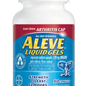 Aleve Liquid Gels with Easy Open Arthritis Cap, Naproxen Sodium Capsules 220 mg (NSAID), Pain Reliever/Fever Reducer, Fast Pain Relief, 80 Count