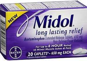 Midol Long Lasting Relief - 20 Caplets, Pack of 4