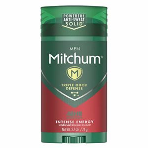 Mitchum Men Stick Solid Antiperspirant Deodorant, Intense Energy, 2.7oz.