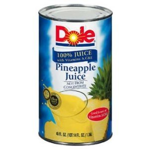Dole 100% Pineapple Juice 46 Oz (Pack of 6)
