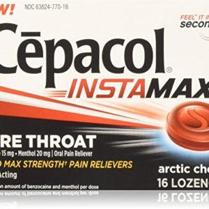 Cepacol Instant Max Sore Throat Lozenges, Arctic Cherry, 16 Little Lozenges (Pack of 2)