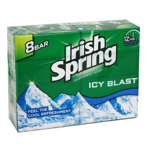 Irish Spring Icy Blast Deodorant Bar Soap 3.75 oz, 8 ea (Pack of 3)