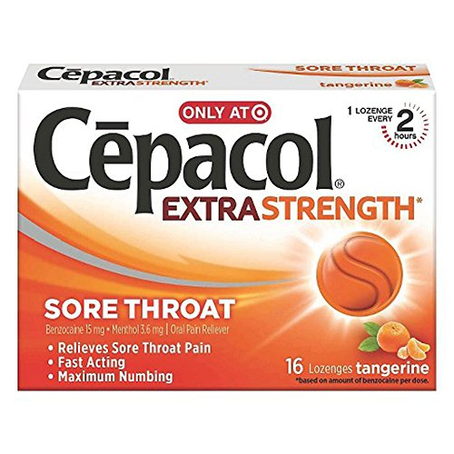 Cepacol Extra Strength Sugar Free, Orange 16Ct
