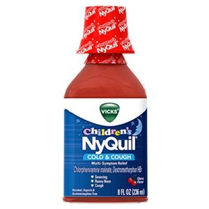 Vicks Children's NyQuil, Nighttime Cold & Cough Multi-Symptom Relief, Relieves Sneezing, Runny Nose, Cough, 8 Fl Oz, Cherry Flavor