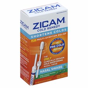 Zicam Cold Remedy Nasal Swabs, 20 Count, Cold-Shortening Nasal Swabs Clinically Proven to Shorten Colds. With Menthol and Eucalyptus