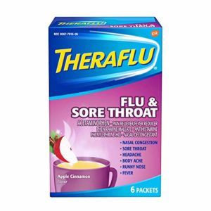 Theraflu Powder for Flu and Sore Throat, Apple Cinnamon 6 packets (2 Pack) SDFV