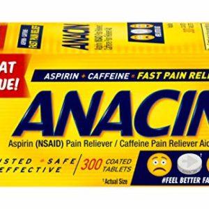 Anacin Aspirin/Caffeine Pain Reliever Aid | Fast Pain Relief | 300 Tablets