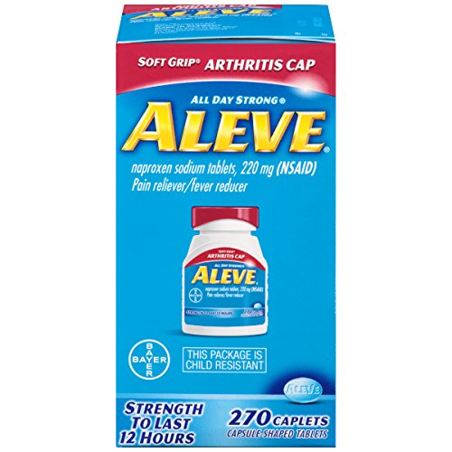Aleve Soft Grip Arthritis Cap Caplets with Naproxen Sodium, 220mg (NSAID) Pain Reliever/Fever Reducer, 270 Count